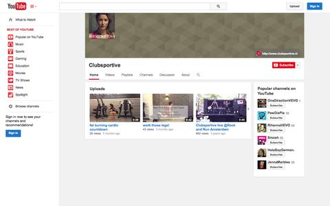 Screenshot of YouTube Page youtube.com - Clubsportive  - YouTube - captured Oct. 22, 2014