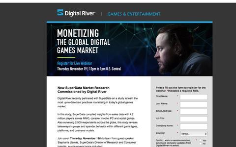 Screenshot of Landing Page digitalriver.com - Monetization Strategies for Game Makers   Registration - captured March 23, 2016