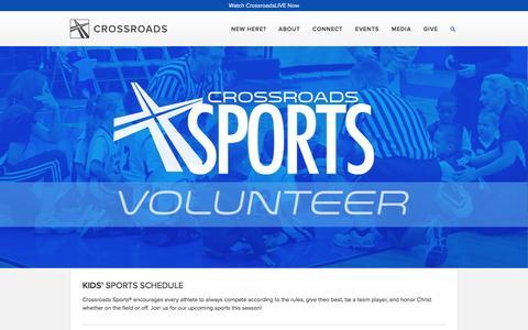 Screenshot of crossroadschristian.org - Kids Sports Schedule — Crossroads Christian Church - captured March 20, 2016