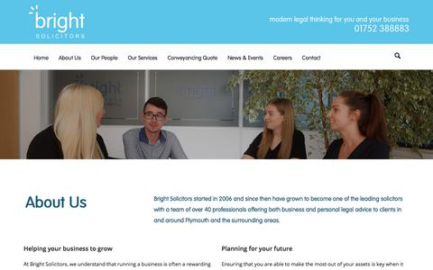 Screenshot of About Page brightllp.co.uk - About | Bright Solicitors | Plymouth Commercial Law Firm - captured Oct. 11, 2017