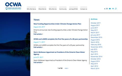 Screenshot of Press Page ocwa.com - Ontario Clean Water Agency | OCWA - captured Nov. 4, 2017