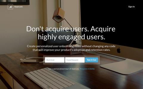 Screenshot of Home Page appcues.com - User Onboarding Software for Web & Mobile Apps — Appcues - captured Nov. 3, 2015