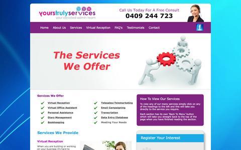 Screenshot of Services Page yourstrulyservices.com.au - Services - captured Jan. 10, 2016