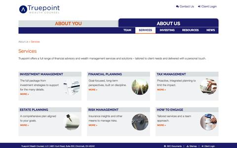 Screenshot of Services Page truepointwealth.com - Services - Truepoint Wealth Counsel - captured Oct. 1, 2014