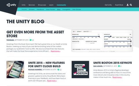Screenshot of Blog unity3d.com - Unity Blog  -  A glimpse inside Unity Technologies… - captured Sept. 30, 2015