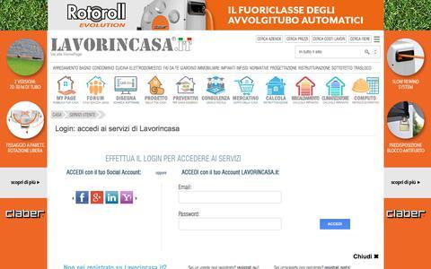 Screenshot of Login Page lavorincasa.it - Login Utenti - Aziende - captured Sept. 21, 2018