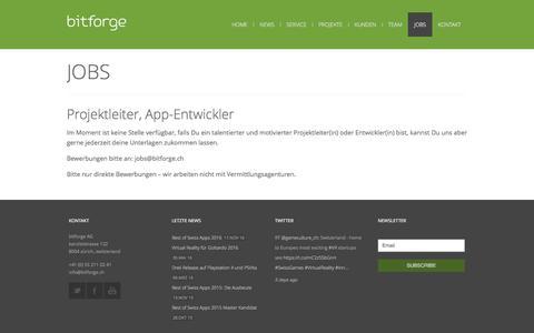 Screenshot of Jobs Page bitforge.ch - bitforge – Entwicklung von Apps & Spielen in der Schweiz – iPhone, Android & Windows | Jobs - captured Nov. 23, 2016