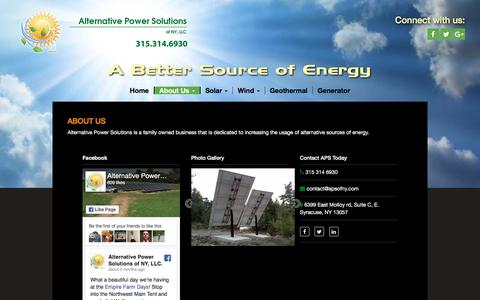 Screenshot of About Page apsofny.com - About Us | Alternative Power Solutions - captured Oct. 8, 2017