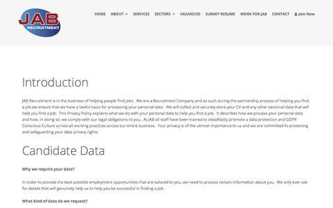 Screenshot of Privacy Page jab-recruitment.com - Privacy Policy – JAB Recruitment - captured July 18, 2018