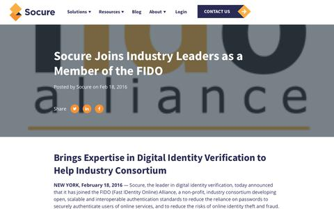 Screenshot of Press Page socure.com - Socure Joins Industry Leaders as a Member of the FIDO - captured Oct. 18, 2019