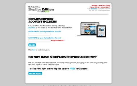 Screenshot of Signup Page newspaperdirect.com - The New York Times - Replica Edition - captured Sept. 19, 2018