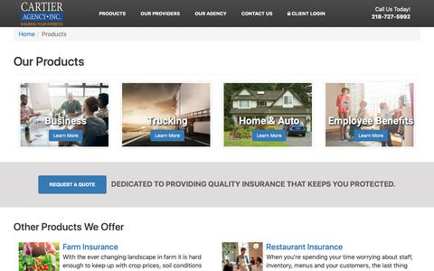 Screenshot of Products Page caduluth.com - Insurance Products | Cartier Agency, Inc. - captured Sept. 27, 2018