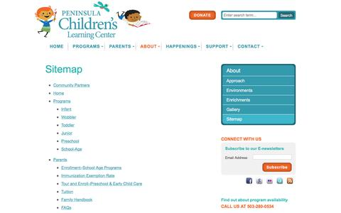 Screenshot of Site Map Page penchild.org - Sitemap | Peninsula Children's Learning Center - captured Jan. 26, 2016