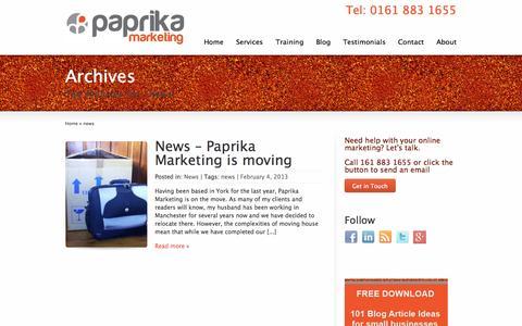 Screenshot of Press Page paprikamarketing.co.uk - news | Paprika Marketing - captured Sept. 23, 2014