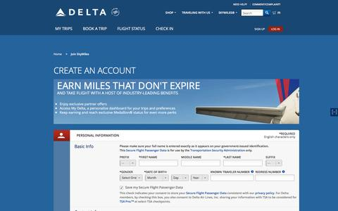 Screenshot of Signup Page delta.com - Delta Air Lines - Airline Tickets and Airfare to Worldwide Destinations - captured Dec. 11, 2015