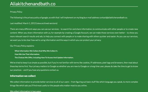 Screenshot of Privacy Page aliakitchenandbath.co - Contact. Page on Contactaliakitchenandbath.co - captured Sept. 27, 2018