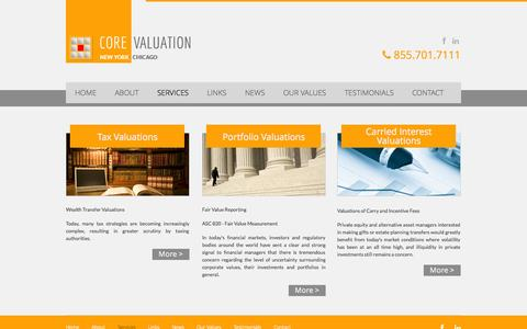 Screenshot of Services Page corevaluation.com - CORE Valuation | Global Business Valuation Firm | Services - captured Sept. 26, 2014