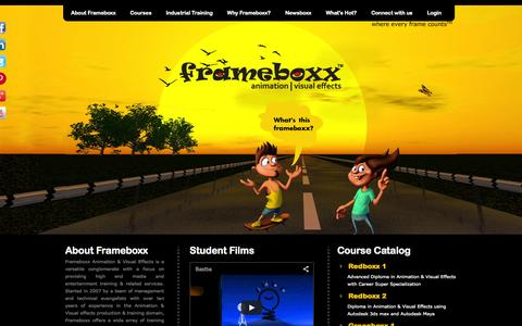 Screenshot of Home Page frameboxx.in - Leading Animation & Visual Effects - Training Institute | Animation Training Academy | Animation Courses - captured Sept. 22, 2014