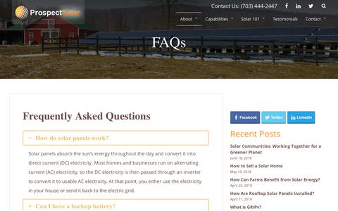 Screenshot of FAQ Page prospectsolar.com - FAQs | Prospect Solar - captured July 22, 2018