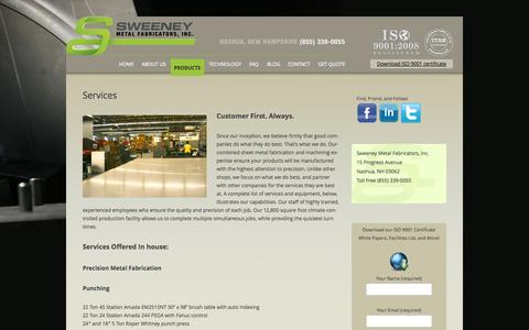 Screenshot of Services Page sweeneymetal.com - Services | Sweeney Metal Fabricators New Hampshire - captured Oct. 7, 2014