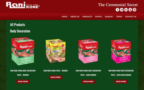 Screenshot of Products Page ranikone.com - All Products | – Rani Kone – The Ceremonial Secret - captured Nov. 12, 2017