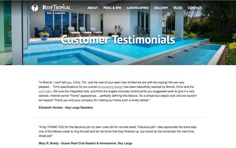 Screenshot of Testimonials Page reeftropical.com - Customer Testimonials | Reef Tropical | South Florida - captured Oct. 24, 2017