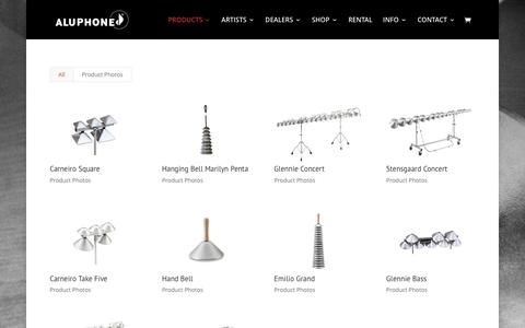 Screenshot of Products Page aluphone.dk - PRODUCTS | Aluphone - Tuned percussion for percussionists. - captured July 25, 2016