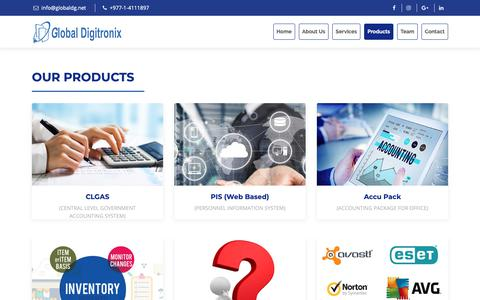 Screenshot of Products Page globaldg.net - Global Digitronix - captured Nov. 10, 2018