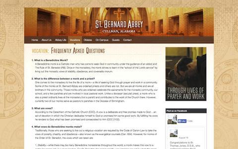 Screenshot of FAQ Page stbernardabbey.com - FAQs - Saint Bernard Abbey   Cullman, Alabama - captured Oct. 7, 2014