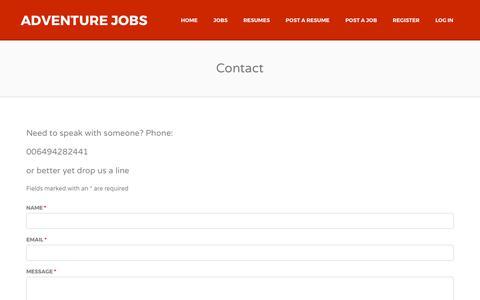 Screenshot of Contact Page adventurejobs.co.nz - Contact | Adventure Jobs - captured Oct. 7, 2017