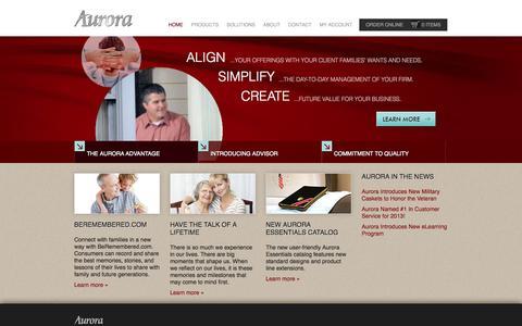 Screenshot of Home Page auroracasket.com - Aurora Advantage | Home - captured Oct. 4, 2014