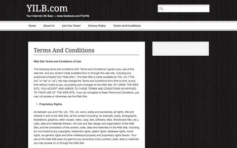 Screenshot of Terms Page yilb.com - YILB.com | Terms And Conditions - captured Oct. 27, 2014