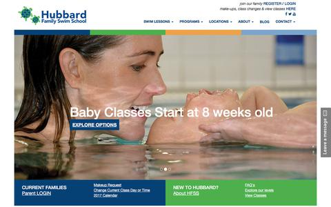 Screenshot of Home Page hubbardswim.com - Swim Lessons for Babies, Toddlers, and Kids - Phoenix, Peoria, Mesa Arizona and Cincinnati Ohio - captured Sept. 14, 2017