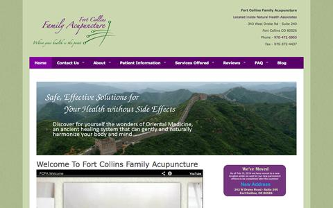 Screenshot of Home Page ftcollinsfamilyacupuncture.com - Welcome to Fort Collins Family Acupuncture – 343 West Drake Rd – Suite 240-Fort Collins Colorado-970-472-0955 - captured Oct. 6, 2014