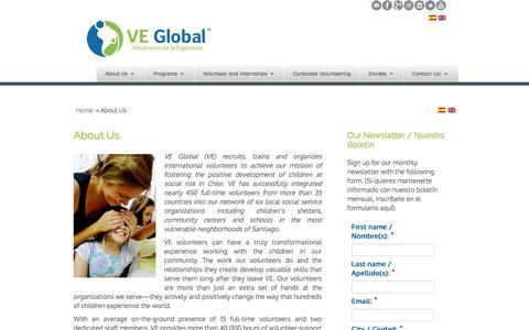 Screenshot of About Page ve-global.org - VE Global | About Us - captured July 20, 2019