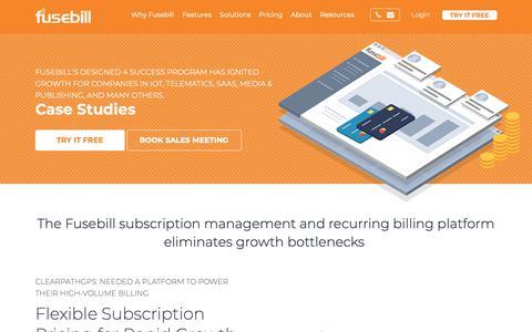 Screenshot of Case Studies Page fusebill.com - Fusebill: Case Studies of Subscription Management and Recurring Billing Solutions - captured Dec. 1, 2018