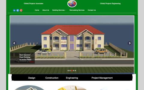 Screenshot of Home Page gpabuilders.com - Global Projects Associates-Global Projects Engineering - captured Sept. 28, 2018