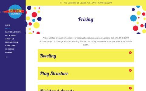 Screenshot of Pricing Page fastlanebowl.com - Pricing - Fast Lane Entertainment - captured Feb. 9, 2016