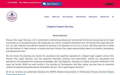 Screenshot of About Page processpluslegal.com - Process Plus Legal Services, Litigation Support Services, Agent for Service of Process, Bucks County, Central New Jersey - captured Nov. 13, 2016