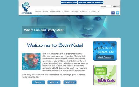 Screenshot of Home Page swimkids.biz - SwimKids / Private Utah Kids Swim Lessons - captured Oct. 6, 2014