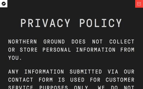 Screenshot of Privacy Page northernground.com - Milwaukee Web Design Agency | Northern Ground - captured Sept. 20, 2018