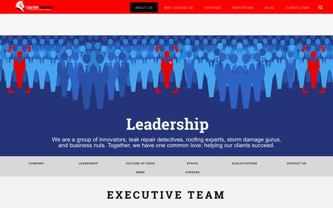 Screenshot of Team Page castroroofing.com - Leadership – Castro Roofing - captured July 16, 2018