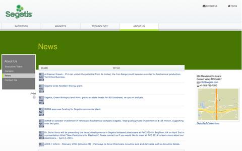 Screenshot of Press Page segetis.com - Segetis: News - captured Sept. 17, 2014