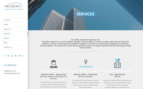 Screenshot of Services Page decision1.com - Montreal business services Place Ville Marie Decision 1 - captured Oct. 12, 2017