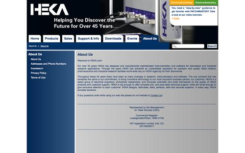 Screenshot of About Page heka.com - HEKA Elektronik - For over 45 years designing and manufacturing sophisticated instrumentation and software for biomedical and Industrial research applications. - captured Oct. 1, 2014