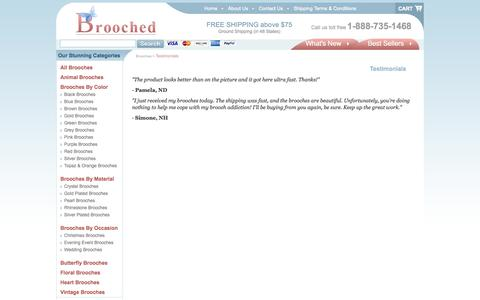 Screenshot of Testimonials Page brooched.com - Testimonials - captured Sept. 30, 2014