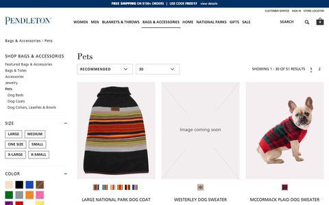 Screenshot of pendleton-usa.com - Pets | Bags & Accessories | Pendleton - captured Oct. 22, 2017