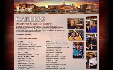 Screenshot of Jobs Page boothillcasino.com - Careers - captured Oct. 5, 2014
