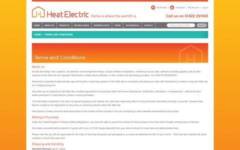 Screenshot of Terms Page heatelectric-uk.com - Terms and Conditions  - By Heat Electric - captured Jan. 28, 2016