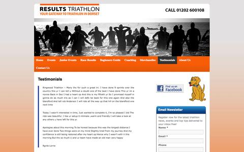 Screenshot of Testimonials Page resultstriathlon.co.uk - Testimonials | Results Triathlon website - captured Oct. 26, 2014